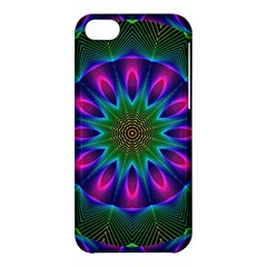 Star Of Leaves, Abstract Magenta Green Forest Apple Iphone 5c Hardshell Case by DianeClancy