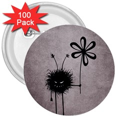 Evil Flower Bug Vintage 3  Button (100 Pack) by CreaturesStore