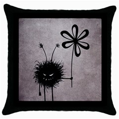 Evil Flower Bug Vintage Black Throw Pillow Case by CreaturesStore