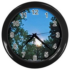 Coming Sunset Accented Edges Wall Clock (black) by Majesticmountain