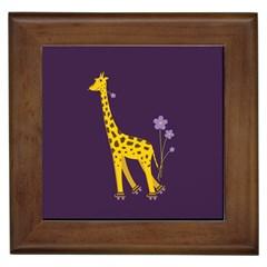 Purple Roller Skating Cute Cartoon Giraffe Framed Ceramic Tile by CreaturesStore