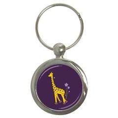 Purple Roller Skating Cute Cartoon Giraffe Key Chain (round) by CreaturesStore