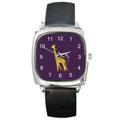 Purple Roller Skating Cute Cartoon Giraffe Square Leather Watch by CreaturesStore