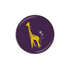 Purple Roller Skating Cute Cartoon Giraffe Golf Ball Marker (for Hat Clip) by CreaturesStore