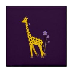 Purple Roller Skating Cute Cartoon Giraffe Face Towel by CreaturesStore