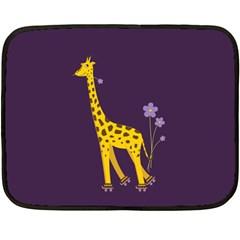 Purple Roller Skating Cute Cartoon Giraffe Mini Fleece Blanket (two Sided) by CreaturesStore
