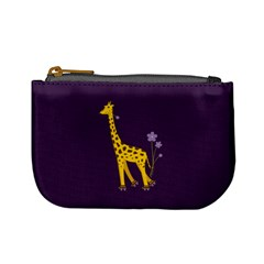 Purple Roller Skating Cute Cartoon Giraffe Coin Change Purse by CreaturesStore