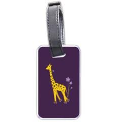 Purple Roller Skating Cute Cartoon Giraffe Luggage Tag (one Side) by CreaturesStore