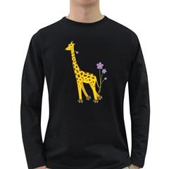 Cute Roller Skating Cartoon Giraffe Men s Long Sleeve T Shirt (dark Colored) by CreaturesStore