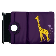 Purple Cute Cartoon Giraffe Apple Ipad 3/4 Flip 360 Case by CreaturesStore