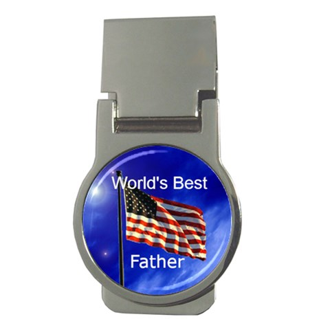 World s Best Father Flag Money Clip By Kim Blair   Money Clip (round)   Lqyvddguxk32   Www Artscow Com Front