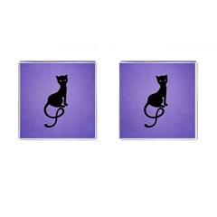 Purple Gracious Evil Black Cat Cufflinks (square) by CreaturesStore