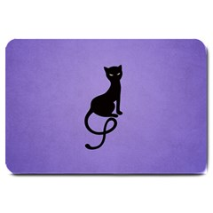 Purple Gracious Evil Black Cat Large Door Mat by CreaturesStore