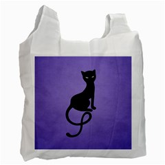 Purple Gracious Evil Black Cat White Reusable Bag (one Side) by CreaturesStore