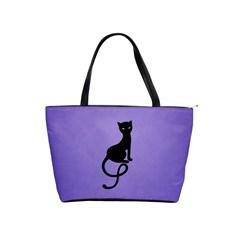 Purple Gracious Evil Black Cat Large Shoulder Bag by CreaturesStore