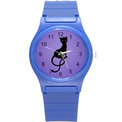 Purple Gracious Evil Black Cat Plastic Sport Watch (small) by CreaturesStore