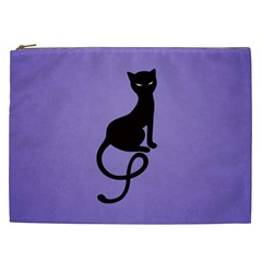 Purple Gracious Evil Black Cat Cosmetic Bag (xxl) by CreaturesStore