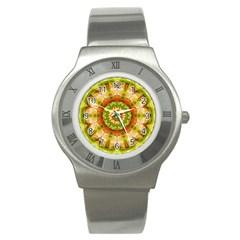 Red Green Apples Mandala Stainless Steel Watch (slim) by Zandiepants