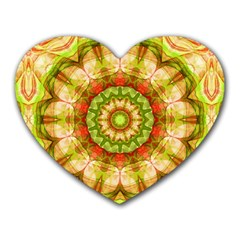 Red Green Apples Mandala Mouse Pad (heart) by Zandiepants