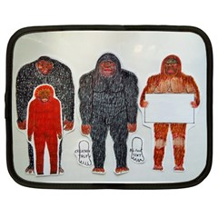 1 Neanderthal & 3 Big Foot,on White, Netbook Sleeve (large) by creationtruth
