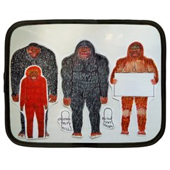 1 Neanderthal & 3 Big Foot,on White, Netbook Sleeve (xxl) by creationtruth