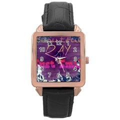 Beautiful Day Just Smile Rose Gold Leather Watch