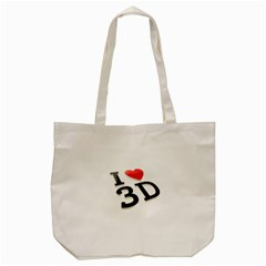 I Love 3d By Divad Brown   Tote Bag (cream)   9zntvexvh110   Www Artscow Com Front