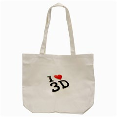 I Love 3d By Divad Brown   Tote Bag (cream)   9zntvexvh110   Www Artscow Com Back