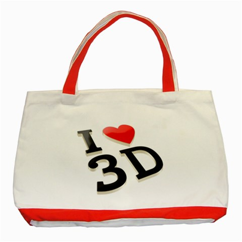 I Love 3d By Divad Brown   Classic Tote Bag (red)   E0wwpzkzgqyf   Www Artscow Com Front