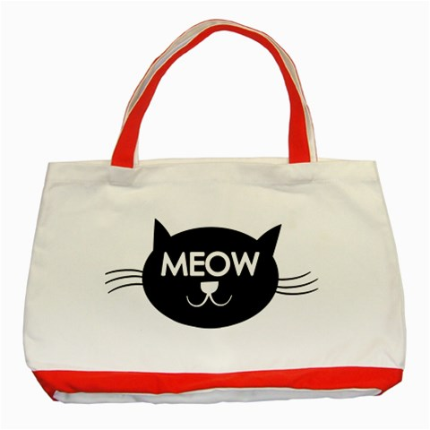 Meow Cat By Divad Brown   Classic Tote Bag (red)   Jmoi26gswx17   Www Artscow Com Front