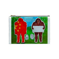 2 Yeh Ren,text & Flag In Forest  Cosmetic Bag (medium) by creationtruth