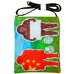 2 Yeh Ren,text & Flag In Forest  Shoulder Sling Bag by creationtruth