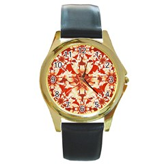Digital Decorative Ornament Artwork Round Leather Watch (gold Rim)  by dflcprints