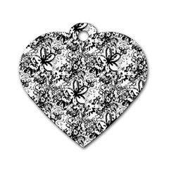 Flower Lace Dog Tag Heart (one Sided)  by rokinronda