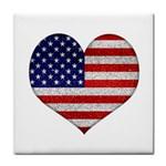 Grunge Heart Shape G8 Flags Ceramic Tile