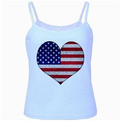 Grunge Heart Shape G8 Flags Baby Blue Spaghetti Tank by dflcprints