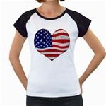 Grunge Heart Shape G8 Flags Women s Cap Sleeve T-Shirt (White)