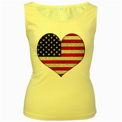 Grunge Heart Shape G8 Flags Women s Tank Top (yellow) by dflcprints