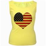 Grunge Heart Shape G8 Flags Women s Tank Top (Yellow)