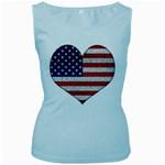 Grunge Heart Shape G8 Flags Women s Tank Top (Baby Blue)