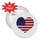 Grunge Heart Shape G8 Flags 2.25  Button (10 pack)