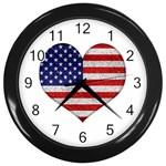 Grunge Heart Shape G8 Flags Wall Clock (Black)