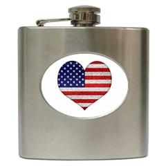 Grunge Heart Shape G8 Flags Hip Flask by dflcprints