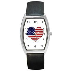 Grunge Heart Shape G8 Flags Tonneau Leather Watch by dflcprints