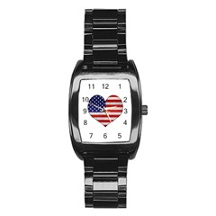 Grunge Heart Shape G8 Flags Stainless Steel Barrel Watch by dflcprints
