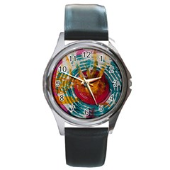 Art Therapy Round Leather Watch (silver Rim) by StuffOrSomething