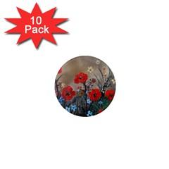 Poppy Garden 1  Mini Button Magnet (10 Pack) by rokinronda