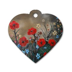 Poppy Garden Dog Tag Heart (two Sided) by rokinronda
