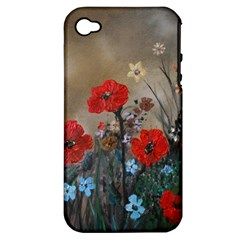 Poppy Garden Apple Iphone 4/4s Hardshell Case (pc+silicone) by rokinronda