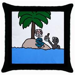 Desert Island Humor Black Throw Pillow Case by EricsDesignz